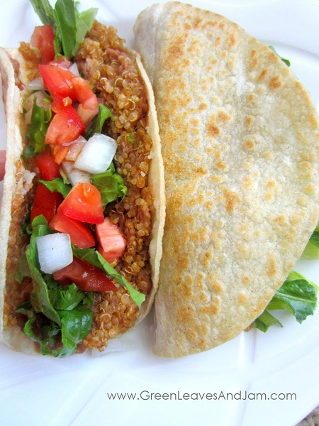 ... steps for achieving the Crispy Corn Tortilla Quinoa and Bean Tacos