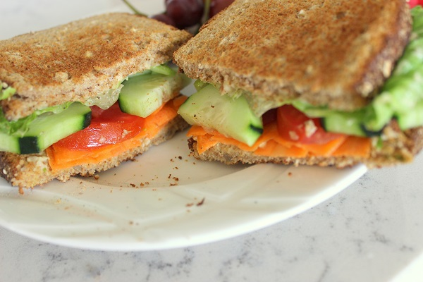 Veggie and Hummus Sandwiches. GreenLeavesAndJam.com