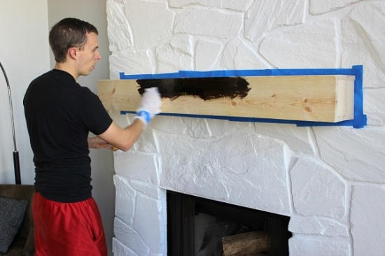 Installing (and making) a Floating Mantle for our Stone Fireplace. GreenLeavesAndJam.com
