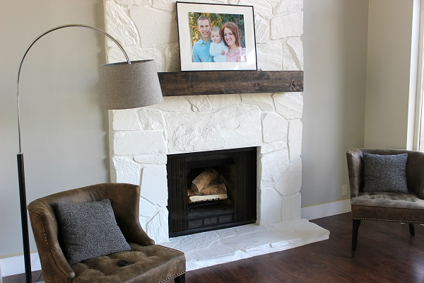 Installing (and Making) a Floating Mantle for our Stone Fireplace